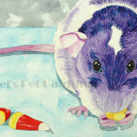 Rat with Candy Corn Halloween Print, Limited Edition Giclee, Purple Rat Print
