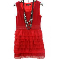 Silk Red Sleeveless Lotus-leaf-hem Slim Dress   style dress274 in