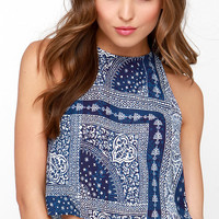 Sea to Shining Sea Ivory and Navy Blue Print Crop Top