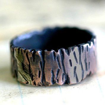 Tree Bark Copper Band Ring Redwood Tree by monkeysalwayslook