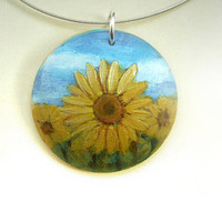 Sunflower Art Pendant, Hand Painted Jewelry, Yellow Flower Necklace, Little Painting on Wood