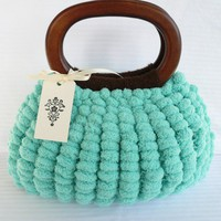 Light blue pom pom purse with brown wood by KristinEbanks