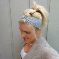 Soft grey twist stretch lace headband feminine/romantic/classic