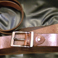 handmade XXL mans dark brown leather belt