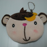 Christmas gift/ Coin purse / Cute monkey zipper pouch / kawaii coin purse / Zippered coin purse / Cute coin purse/ Ready to ship