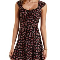 Button-Up Floral Print Dress by Charlotte Russe - Black Combo