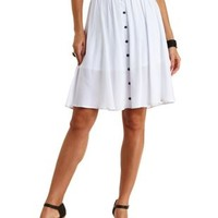 Button-Up Full Midi Skirt by Charlotte Russe - White