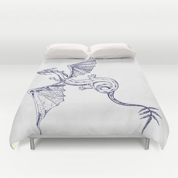 A Dragon's Tale Duvet Cover by Texnotropio