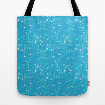 Soft Blue Glimmering Sparkles Tote Bag by KCavender Designs