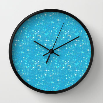 Soft Blue Glimmering Sparkles Wall Clock by KCavender Designs