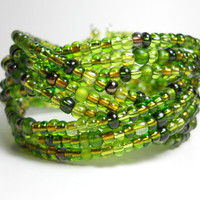 Braided Cuff Bracelet Turtle Green Beaded Cuff Bracelet