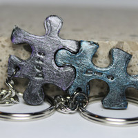Puzzle Pieces His and Hers Keychains set Set 8