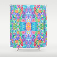 """Artistic Shower Curtain - """"Egg Hunt"""" - Colorful Abstract mixed media shower curtain, blue, teal, yellow, red, purple,  green, extra long"""