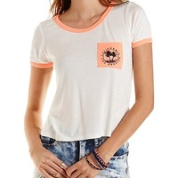 California Graphic Ringer Pocket Tee by Charlotte Russe - Ivory Combo