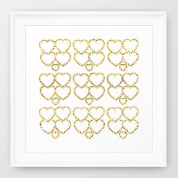 Golden hearts Framed Art Print by VanessaGF