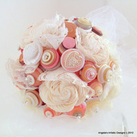 Lace Wedding Button Bouquet,  Alternative, non traditional, Victorian,
