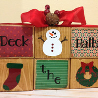 Christmas Decoration Deck the halls wooden blocks snowman Christmas stocking Christmas wreath holiday decoration red ribbon pinecone