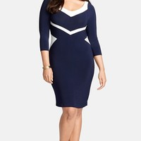 Plus Size Women's Lauren Ralph Lauren Colorblock V-Neck Jersey Sheath Dress,