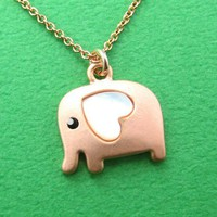 Small Elephant Animal Necklace in Light Copper with Heart ALLERGY FREE