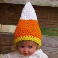Baby Candy Corn Hat - 3 to 6 months sized