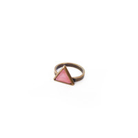 Triangle Inset Ring - Brass/Pink