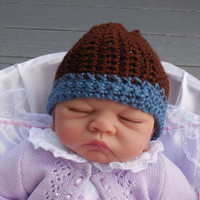 Crochet Baby Hat, Newborn Size, Crochet Brown and Blue Baby Boy Hat, Newborn Crochet Hat, Crochet Beanie, Crochet Flower Accents