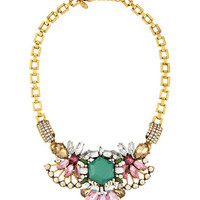 Square-Link Bib Necklace, Multicolor/Golden