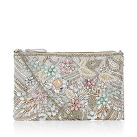 Grace Embroidered Ziptop Bag | Silver | Accessorize