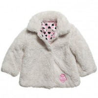 Baby Girls Ivory Fleece Coat with Branded Lining
