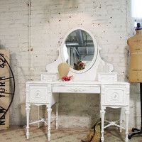 RESERVE NANCY Painted Cottage Chic Shabby White Romantic French Vanity VAN249