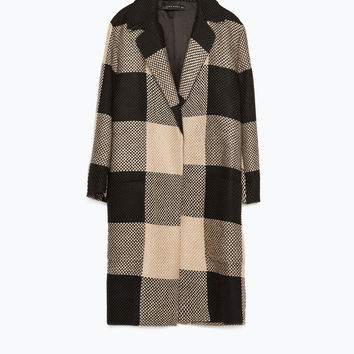 CHECKED COAT WITH LAPEL