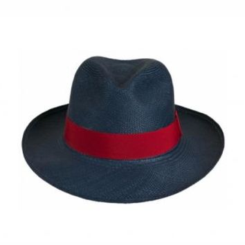 Navy And Red Authentic Toquilla Straw Fedora - PRYMAL Navy And Red Authentic Toquilla Straw Fedora