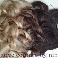"Ombre Hair Extensions//DipDye//Dark Brown Hair and Wheat Blonde Fade//(7) Pieces//22""//Double Wefted"