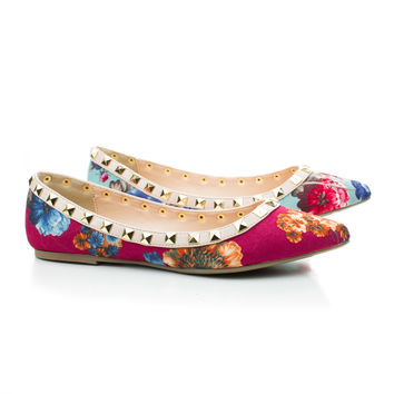 Pippa36 Floral Pointy Toe Pyramid Studded Slip On Dressy Flats