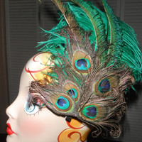 Peacock Costume - Feather Hair Fascinator - Headpiece - Clip - Burlesque, Showgirl Costume