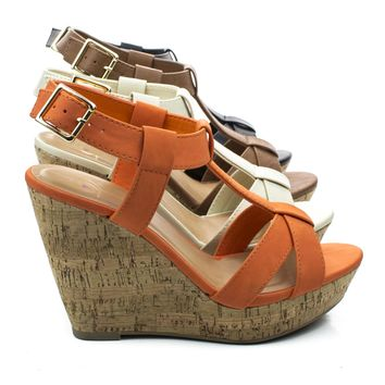 Johanna T-strap Sandal On Cork Platform Wedge