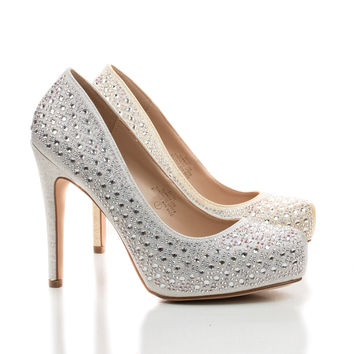 Summer26X Sparkling Rhinestone Studded Low Platform Stiletto Heel Pumps
