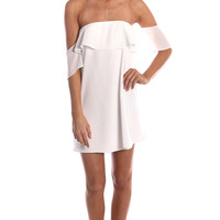 WHITE OFF THE SHOULDER RUFFLED DRESS