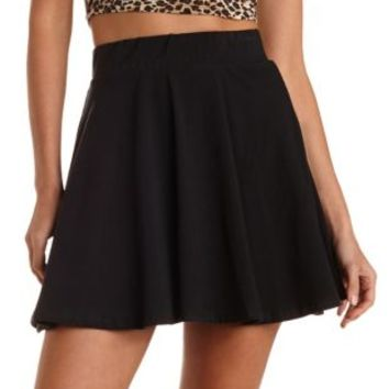 High-Waisted Cotton Skater Skirt by Charlotte Russe - Black