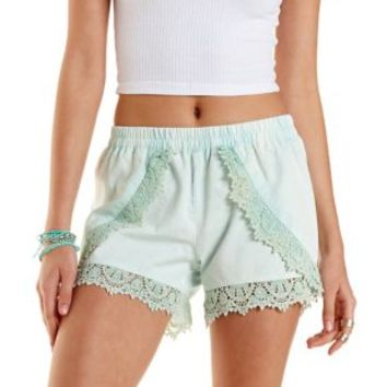 Lace-Trim Chambray Tulip Shorts by Charlotte Russe - Mint