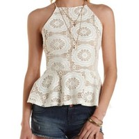 Strappy Lace Peplum Top by Charlotte Russe - Ivory
