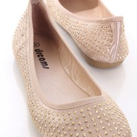 Champagne Satin Faux Leather Studded Closed Toe Flats @ Amiclubwear Flats Shoes online store:Women&#x27;s Casual Flats,Sexy Flats,Black Flats,White Flats,Women&#x27;s Casual Shoes,Summer Shoes,Discount Flats,Cheap Flats,Spring Shoes,Cute Flats Shoes,Women&#x27;s Flats S
