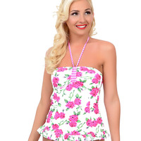 Banana Moon Vintage 1950s Style Pin-Up White & Pink Floral Scarlett Midler Skirted Bandeau Swimsuit