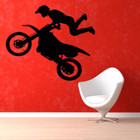 Bike Wall Decals Motorcyclist Boy Chopper Biker Extreme Sport Home Interior Design Vinyl Decal Sticker Art Mural Kids Baby Room Decor KG497