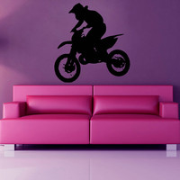 Bike Wall Decals Motorcyclist Boy Chopper Biker Extreme Sport Home Interior Design Vinyl Decal Sticker Art Mural Kids Baby Room Decor KG498