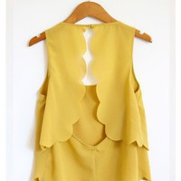 Mustard Scallop Trim Crop Tank Top