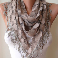 Polka Dots Tulle Scarf with Light Brown Lace Trim Edge
