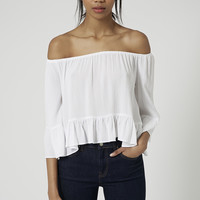 Crinkle Off Shoulder Bardot Top - Topshop