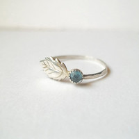Sky Blue Topaz Ring, Leaf Ring, Hammered Sterling Silver Ring, Handforged