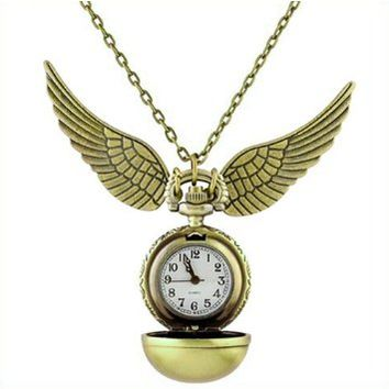 1pcs* Harry Potter Golden Snitch Pendant Pocket Watch Necklace Wings Chain Gift
